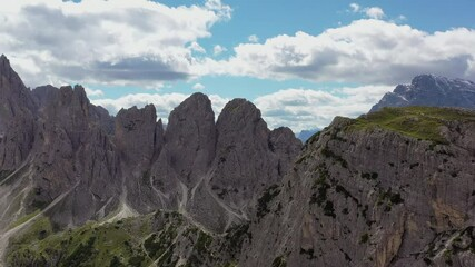 Wall Mural - Aerial Panorama of Italian Dolomites Mountains During Sunny Summer Day