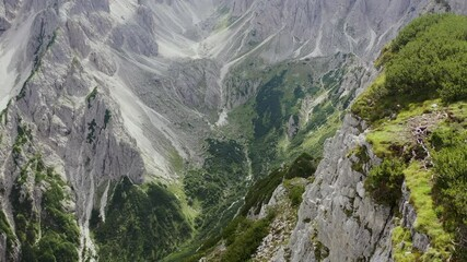 Wall Mural - Extremely Scenic Dolomites Trails Aerial Vista. Italian Alps in Northern Italy