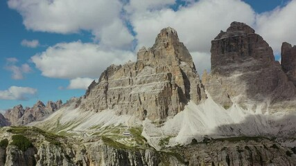 Wall Mural - Tre Cime di Lavaredo Summit in the Italian Dolomites Aerial Summer Time Footage