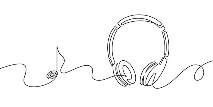 One line headphones. Continuous drawing of music gadget and note. Audio headphone outline sketch. Lineart vector concept of musical symbol. Illustration headphone drawing contour monoline