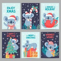 Koala christmas. Happy animals with gift boxes. Cute merry christmas cards with koalas. Little australian bear in winter holiday vector set. Illustration cartoon koala postcard, holiday xmas card