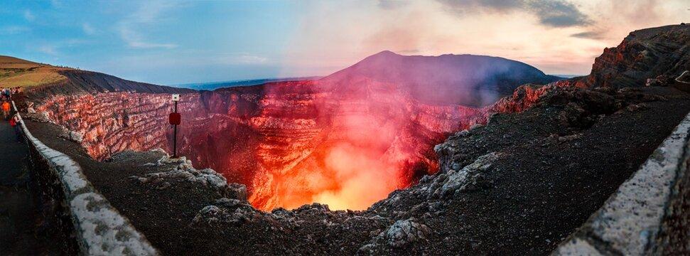 View of magma filled caldera of Masaya Volcano