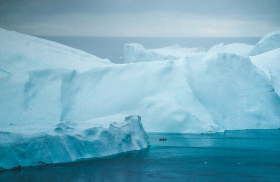 Scenic view of boat in the Arctic Circle of Greenland