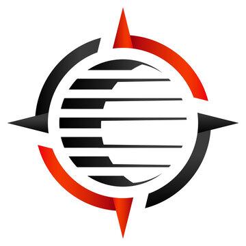 Navigation, Kompass, Erdball - Icon Logo Design