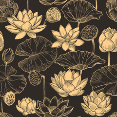 Wall Mural - Sketch lotus seamless pattern. Floral composition water lily flowers and leaves, monochrome lotuses for products, wallpaper vector texture. Illustration lotus floral, flower plant repetition