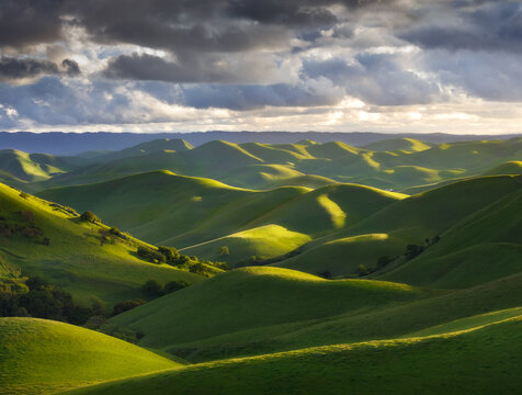 View of endless rolling hills in spring