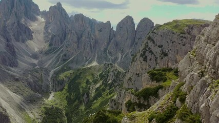 Wall Mural - Misurina Region of Dolomites Mountains Range in Aerial Footage