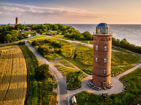 drone view of lighthouses from Kap Arkona