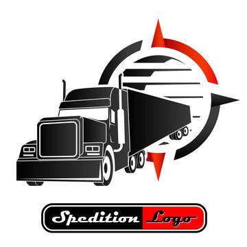 Spedition Logo mit US-Truck, Kompass und Erdball
