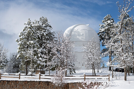 Snow covered Lowell Observatory, Flagstaff Arizona, bright sunny day