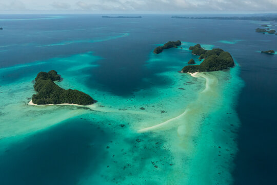 Aerial shot of Long Beach and tropical islands in Palau, Micronesia