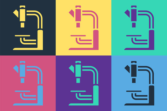 Pop art Microscope icon isolated on color background. Chemistry, pharmaceutical instrument, microbiology magnifying tool. Vector.