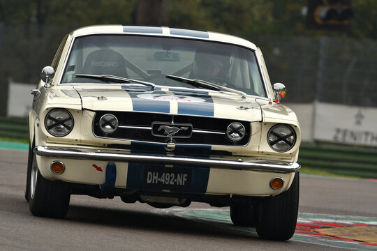 Imola (BOLOGNA) - 26 Oct 2018: Ford Mustang 289 1965 driven by Stéphane GUYOT-SIONNEST  Baptiste GUYOT-SIONNEST during practice session on Imola Circuit, Italy.