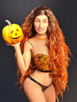 3D Photo of a Long-Haired Woman Holding a Halloween Pumpkin