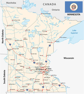minnesota federal state road vector map with flag