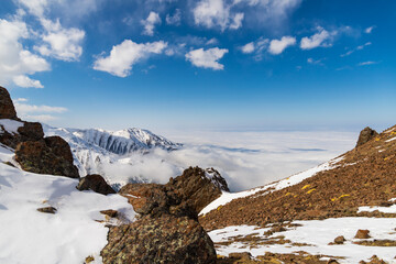 Melting glaciers in the Tian shan mountains.