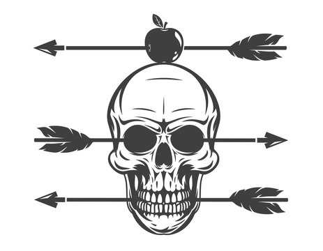 Vintage monochrome human skull with arrow and apple isolated on white background. Hand drawn design element template for emblem, print, cover, poster. Vector illustration.