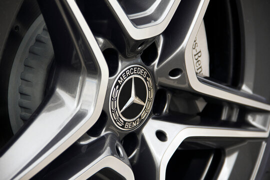 Kiev, Ukraine - May 22, 2020: Wheel of a Mercedes car. Car disk and tire. The brakes. Caliper. Background.
