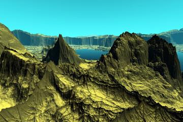 Photo sur Plexiglas Turquoise Alien Planet. Mountain and lake. 3D rendering