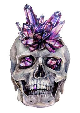 Watercolor Illustration of Skull in Amethyst Crown with Crystals in Eyes.