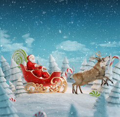 Happy Santa Claus in Christmas sleigh in a magical forest with candy canes.