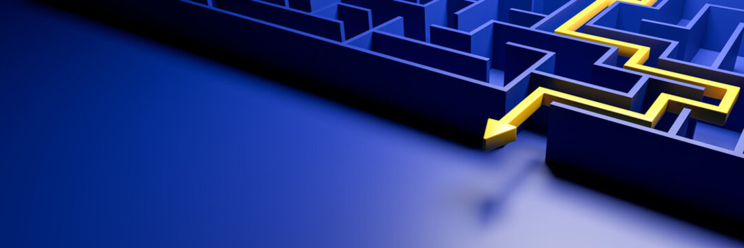 3d rendering: Concept - solving a complex problem. Blue maze and floor with yellow solution path with arrow. Banner size.
