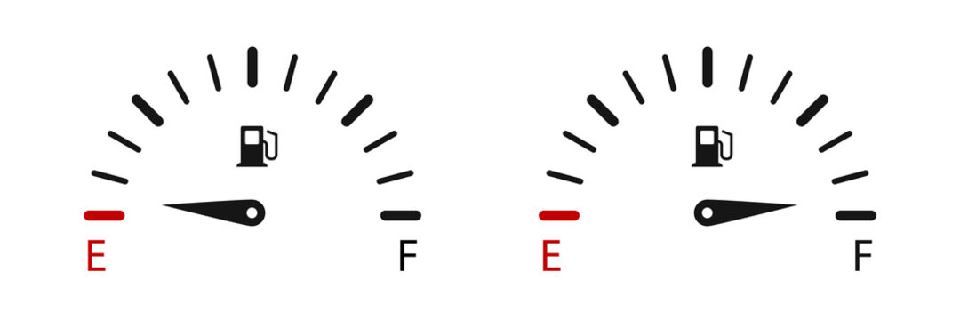 Fuel gauge indicators. Vector illustration. Fuel gauge level.