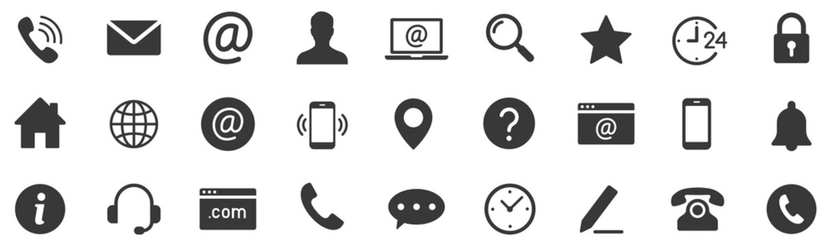 Contact icon set. Web icons set.