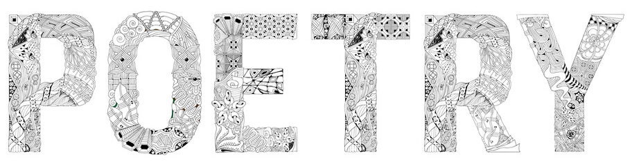 Word POETRY. Vector zentangle object for coloring Wall mural