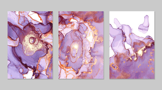 Purple and gold marble abstract backgrounds in alcohol ink technique. Set of vector stone textures. Modern paint with glitter. Template for banner, poster design. Fluid art painting
