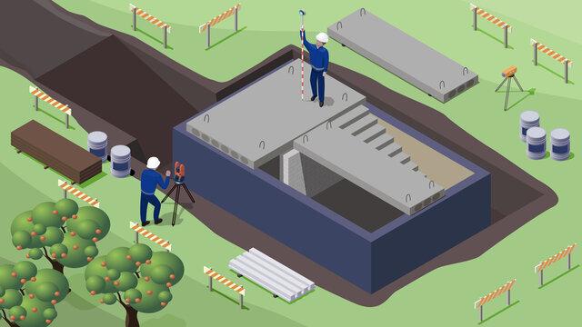 construction phase. Hollow-core floor slabs installation. basement waterproofing.