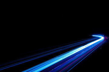 blue car lights at night. long exposure Fotomurales