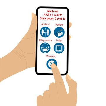 Hand hält Handy mit AHA + L & APP Regel. Dabei drückt der Finger einer zweiten Hand auf ein Symbol