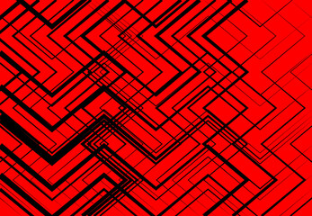 Geometric structure, network, chaotic jumble of straight, angular intersecting lines. Abstract random grid, mesh. Colorful ORANGE, YELLOW, RED background, texture and pattern Wall mural