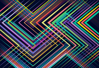 Modern vivid, vibrant geometric structure, network, chaotic jumble of straight, angular intersecting lines. Abstract random grid, mesh. Colorful backdrop, background, texture and pattern Wall mural