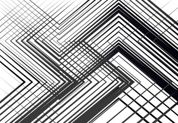 Geometric structure, network, chaotic jumble of straight, angular intersecting lines. Abstract random grid, mesh. Grayscale, black and white texture, pattern, background and backdrop Wall mural