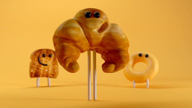 Breakfast Crew. 3d illustration. A donut a toast and a strong croissant.
