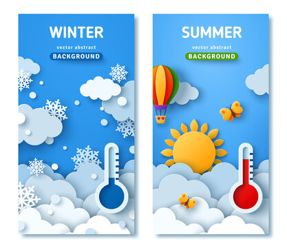 Vertical posters set with fluffy clouds on blue sky background, summer sun, butterfly, hot air balloons and winter landscape with snowflakes. Vector illustration. Paper cut style. Place for text