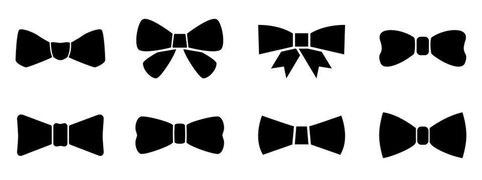Set bow tie or neck tie simple icons isolated. Elegant silk neck bow. Vip event accessory – for stock