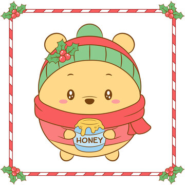 Merry Christmas cute coloring Winnie the Pooh bear drawing with red berry and green scarf for winter season