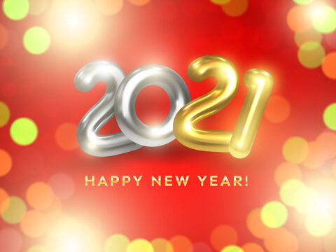 Happy New Year 2021. Realistic 2021 gold and silver numbers on red background with light flares and bokeh