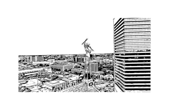 Building view with landmark of Birmingham is a city in the north central region of the U.S. state of Alabama. Hand drawn sketch illustration in vector.