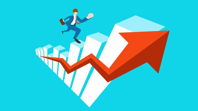 Businessman running up growth graph