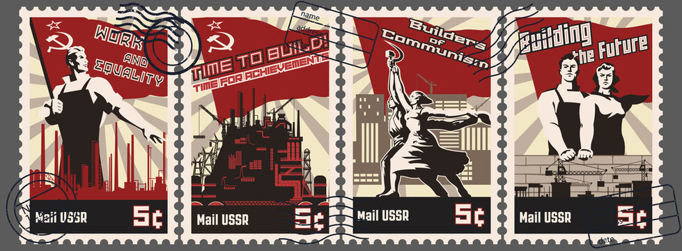 Soviet Work Propaganda Postage Stamps Stylization, Retro Post Marks Workers, Factories