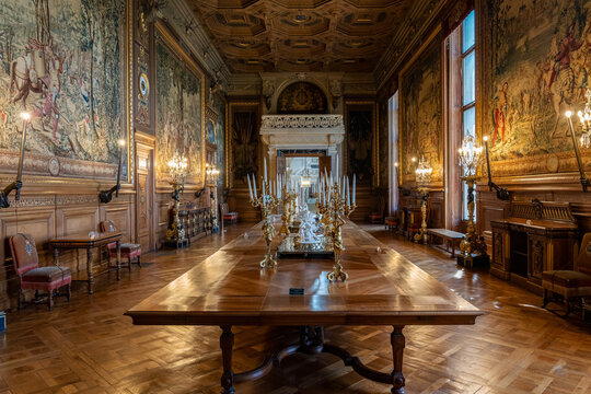 Chantilly, France - September 21 2020: Interior of beautiful Chateau de Chantilly. The Deer Gallery - France