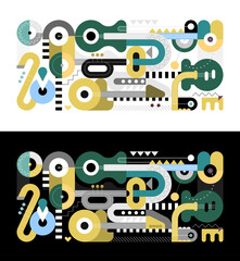 Two options of Geometric style graphic illustration. Flat design of different musical instruments isolated on a black / on a white backgrounds. Electric guitar, acoustic guitar, trumpet and saxophone.