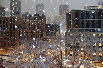 snowy hazy night in new york city with trees and buildings