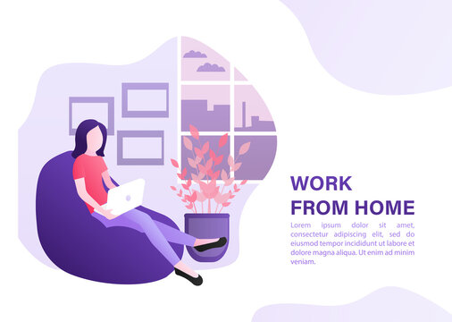 Flat work from home for concept design. Stay home. Work from home, great design for any purposes. Vector illustration.