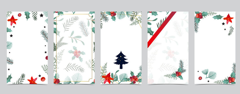 Cute christmas background for social media with tree,holly,ribbon