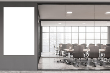 White and gray office meeting room with poster